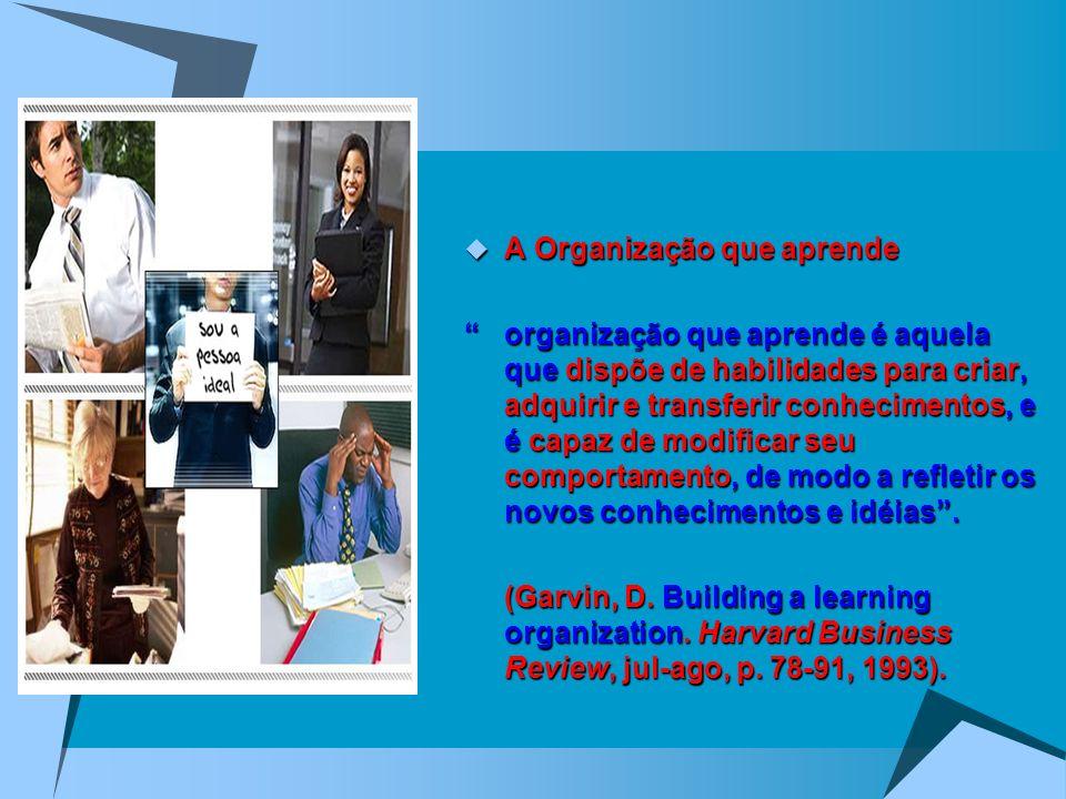 A Organização que aprende A Organização que aprende organização que aprende é aquela que dispõe de habilidades para criar, adquirir e transferir conhe