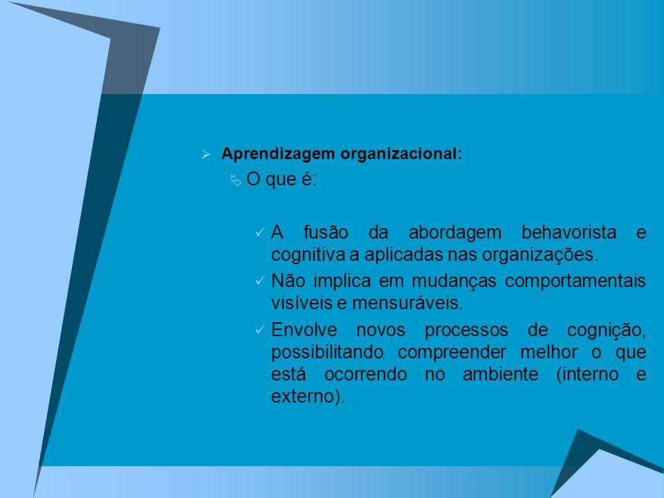 Aprendizagem organizacional: O que é: A fusão da abordagem behavorista e cognitiva a aplicadas nas organizações. Não implica em mudanças comportamenta