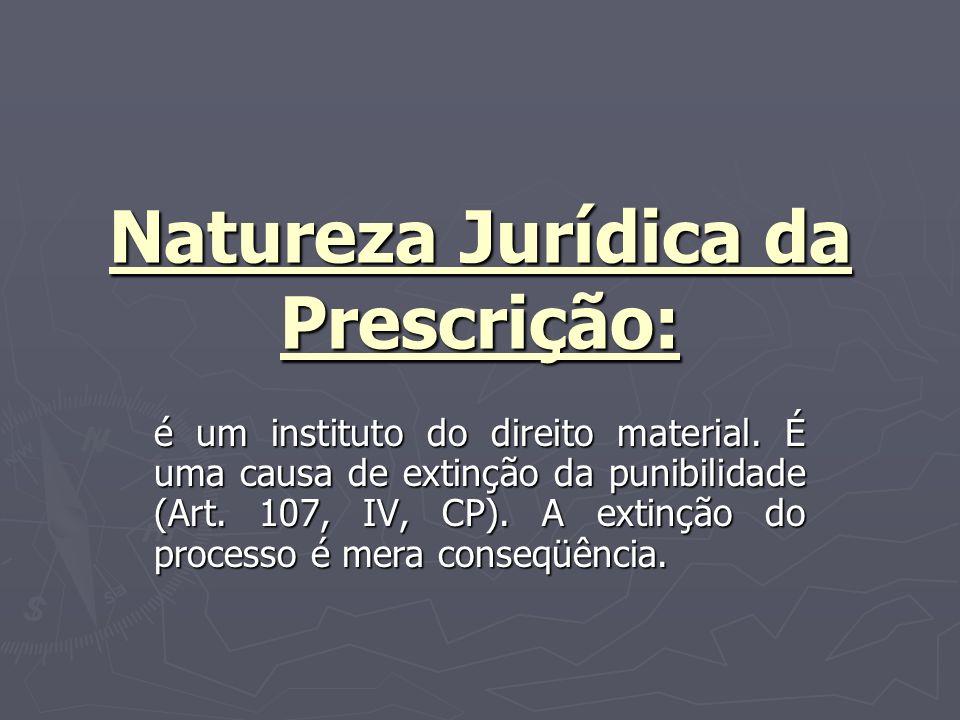 Natureza Jurídica da Prescrição: é um instituto do direito material.