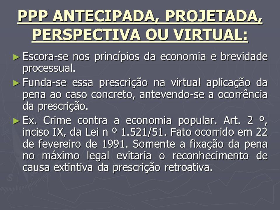 PPP ANTECIPADA, PROJETADA, PERSPECTIVA OU VIRTUAL: Escora-se nos princípios da economia e brevidade processual.