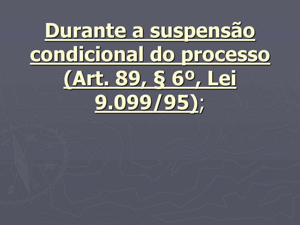 Durante a suspensão condicional do processo (Art. 89, § 6º, Lei 9.099/95);