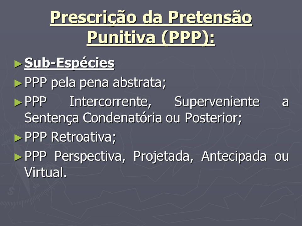 Prescrição da Pretensão Punitiva (PPP): Sub-Espécies Sub-Espécies PPP pela pena abstrata; PPP pela pena abstrata; PPP Intercorrente, Superveniente a Sentença Condenatória ou Posterior; PPP Intercorrente, Superveniente a Sentença Condenatória ou Posterior; PPP Retroativa; PPP Retroativa; PPP Perspectiva, Projetada, Antecipada ou Virtual.