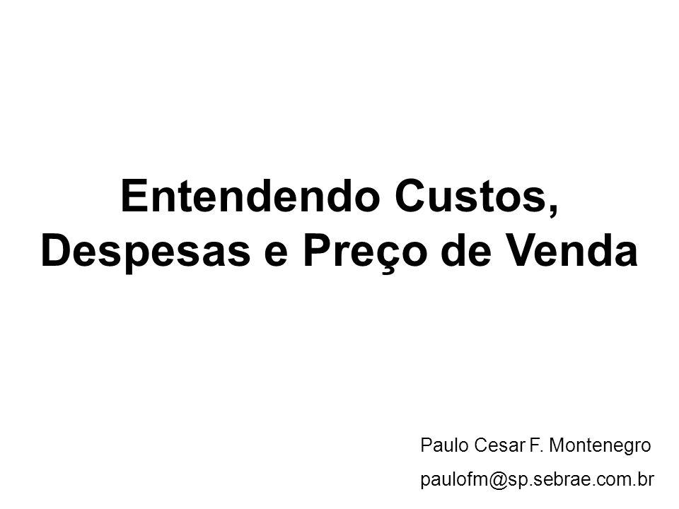 Entendendo Custos, Despesas e Preço de Venda Paulo Cesar F. Montenegro paulofm@sp.sebrae.com.br