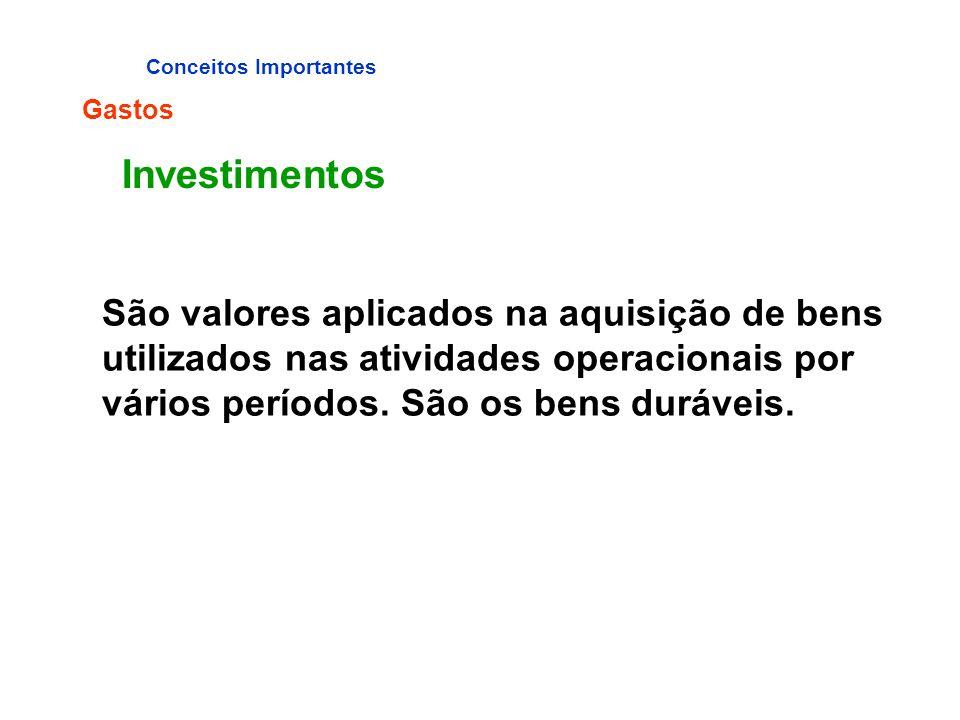 Conceitos Importantes Gastos Investimentos São valores aplicados na aquisição de bens utilizados nas atividades operacionais por vários períodos. São