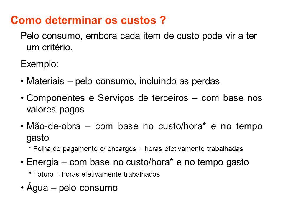 Como determinar os custos ? Pelo consumo, embora cada item de custo pode vir a ter um critério. Exemplo: Materiais – pelo consumo, incluindo as perdas