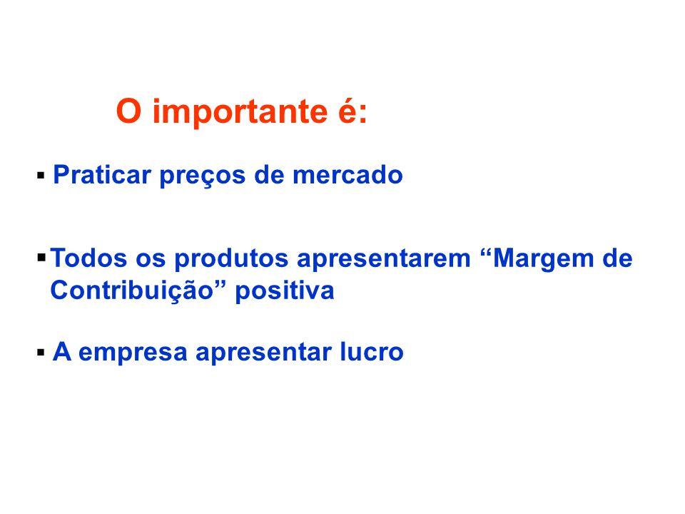O importante é: Praticar preços de mercado Todos os produtos apresentarem Margem de Contribuição positiva A empresa apresentar lucro