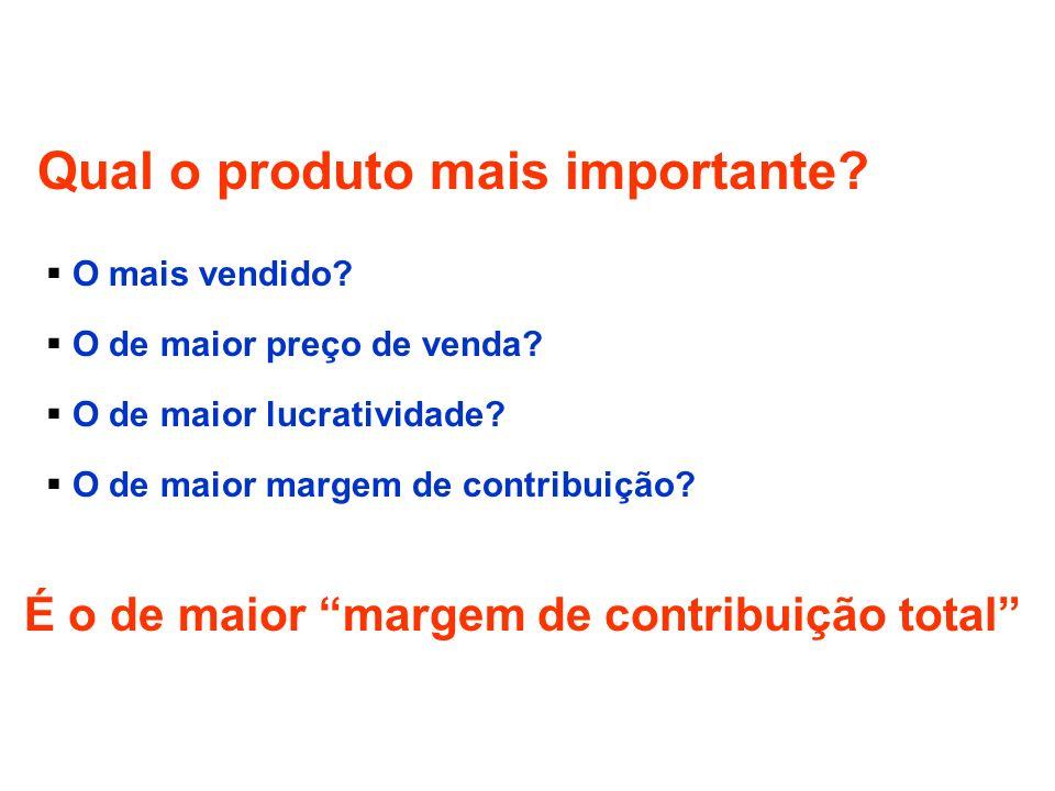 Qual o produto mais importante? O mais vendido? O de maior preço de venda? O de maior lucratividade? O de maior margem de contribuição? É o de maior m