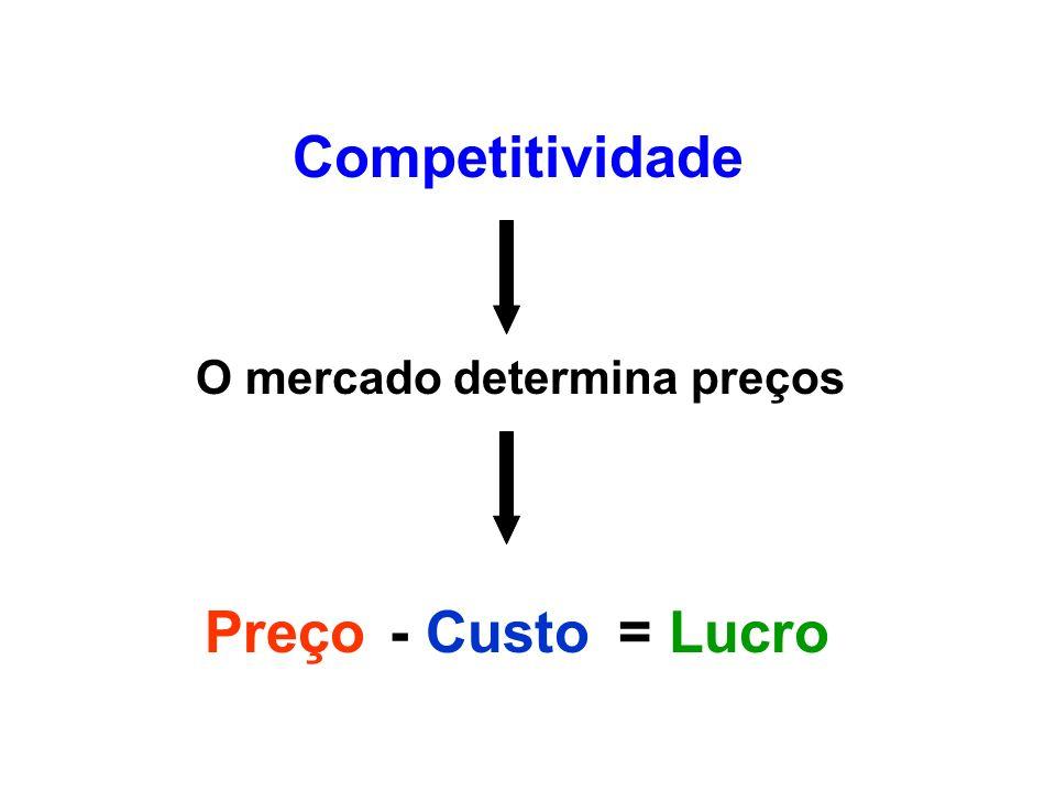 Competitividade O mercado determina preços Satisfação total do Cliente Preço- Lucro= Custo