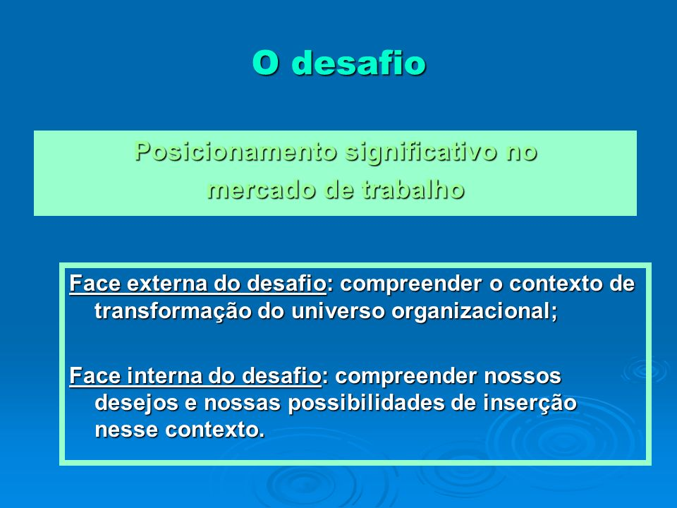 O desafio Posicionamento significativo no mercado de trabalho Face externa do desafio: compreender o contexto de transformação do universo organizacio