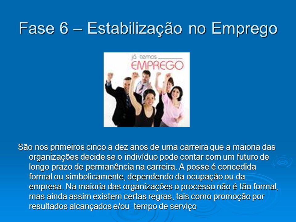 Fase 6 – Estabilização no Emprego São nos primeiros cinco a dez anos de uma carreira que a maioria das organizações decide se o indivíduo pode contar