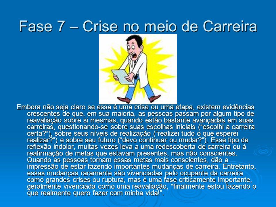 Fase 7 – Crise no meio de Carreira Embora não seja claro se essa é uma crise ou uma etapa, existem evidências crescentes de que, em sua maioria, as pe