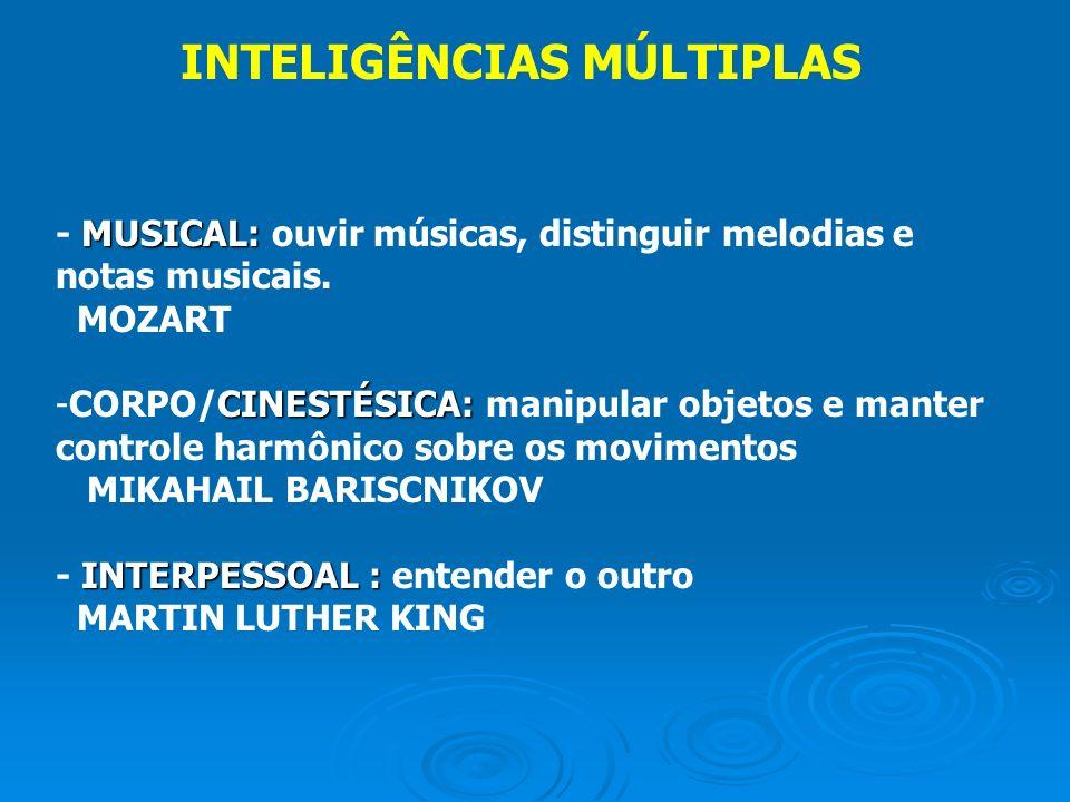 MUSICAL: - MUSICAL: ouvir músicas, distinguir melodias e notas musicais. MOZART CINESTÉSICA: -CORPO/CINESTÉSICA: manipular objetos e manter controle h