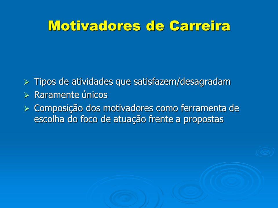 Motivadores de Carreira Tipos de atividades que satisfazem/desagradam Tipos de atividades que satisfazem/desagradam Raramente únicos Raramente únicos