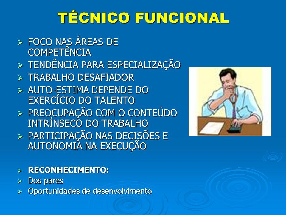 TÉCNICO FUNCIONAL FOCO NAS ÁREAS DE COMPETÊNCIA FOCO NAS ÁREAS DE COMPETÊNCIA TENDÊNCIA PARA ESPECIALIZAÇÃO TENDÊNCIA PARA ESPECIALIZAÇÃO TRABALHO DES