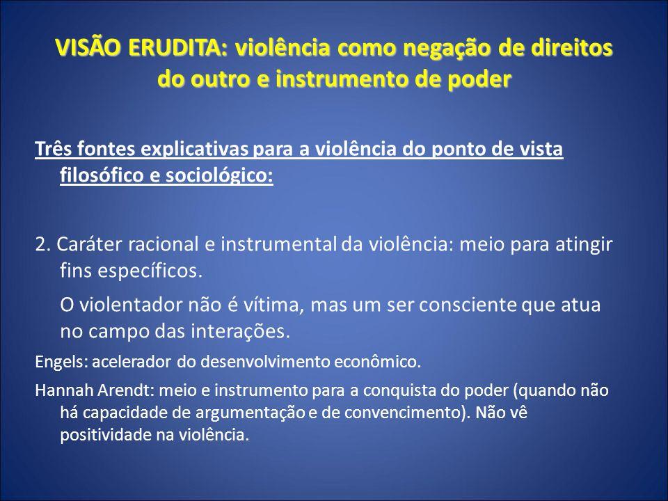 VISÃO ERUDITA: violência como negação de direitos do outro e instrumento de poder Três fontes explicativas para a violência do ponto de vista filosófico e sociológico: 3.