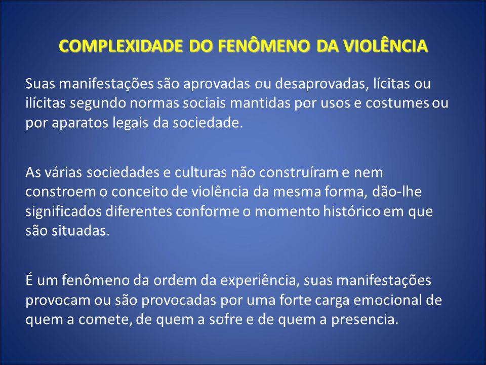 VISÃO POPULAR: violência como crime, corrupção, miséria e pecado Visão dominante: violência é a criminal.