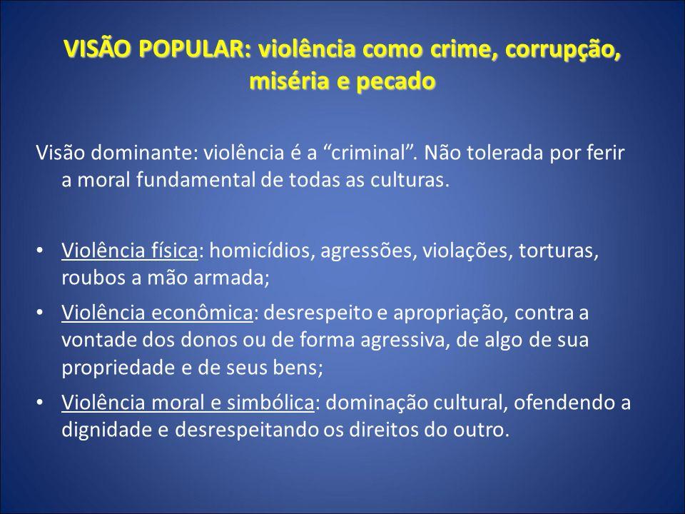 VISÃO POPULAR: violência como crime, corrupção, miséria e pecado PECADO é o nome da violência interpretada pelo código religioso.