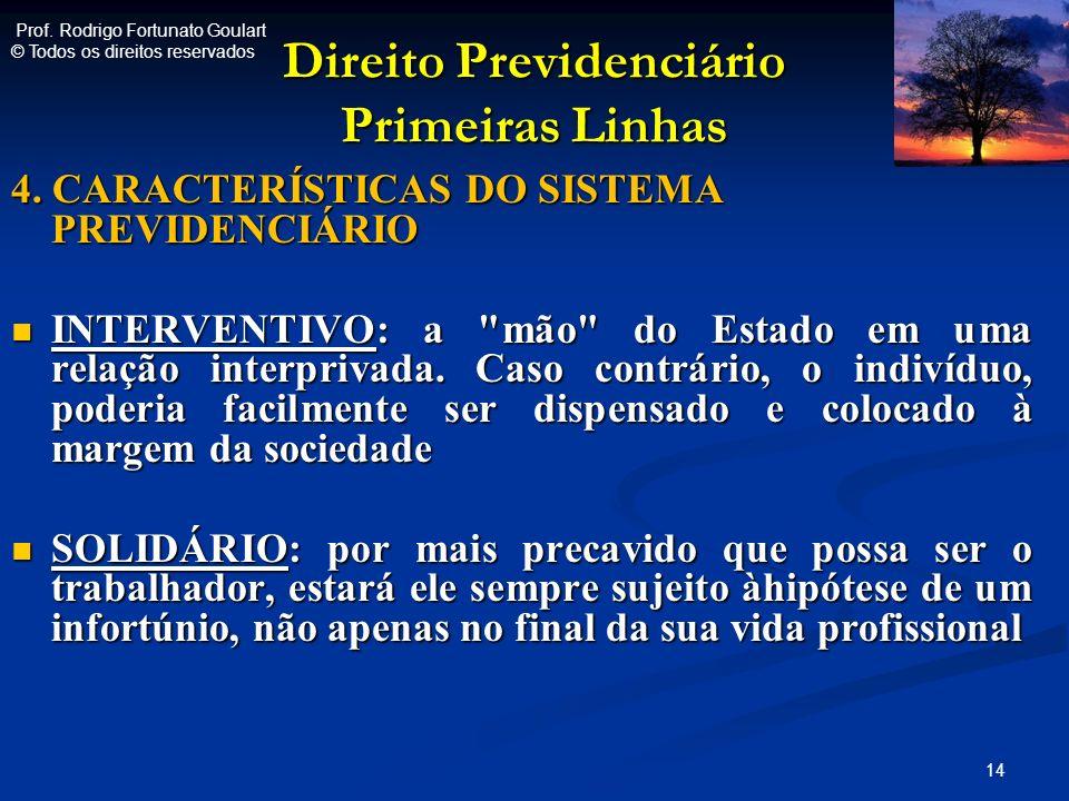 Direito Previdenciário Primeiras Linhas 4. CARACTERÍSTICAS DO SISTEMA PREVIDENCIÁRIO INTERVENTIVO: a