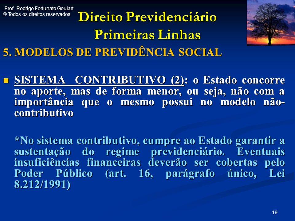Direito Previdenciário Primeiras Linhas 5. MODELOS DE PREVIDÊNCIA SOCIAL SISTEMA CONTRIBUTIVO (2): o Estado concorre no aporte, mas de forma menor, ou