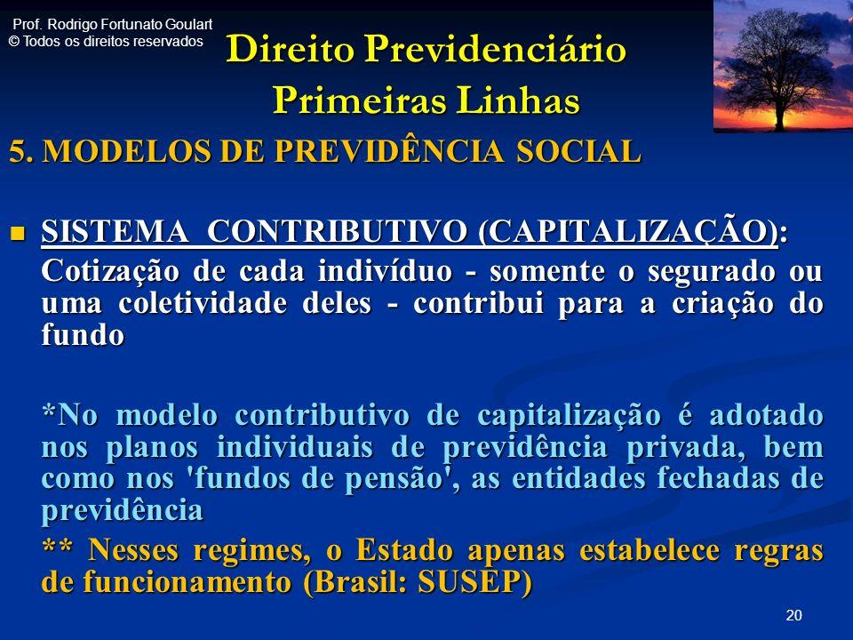 Direito Previdenciário Primeiras Linhas 5. MODELOS DE PREVIDÊNCIA SOCIAL SISTEMA CONTRIBUTIVO (CAPITALIZAÇÃO): SISTEMA CONTRIBUTIVO (CAPITALIZAÇÃO): C