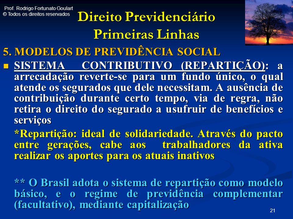 Direito Previdenciário Primeiras Linhas 5. MODELOS DE PREVIDÊNCIA SOCIAL SISTEMA CONTRIBUTIVO (REPARTIÇÃO): a arrecadação reverte-se para um fundo úni