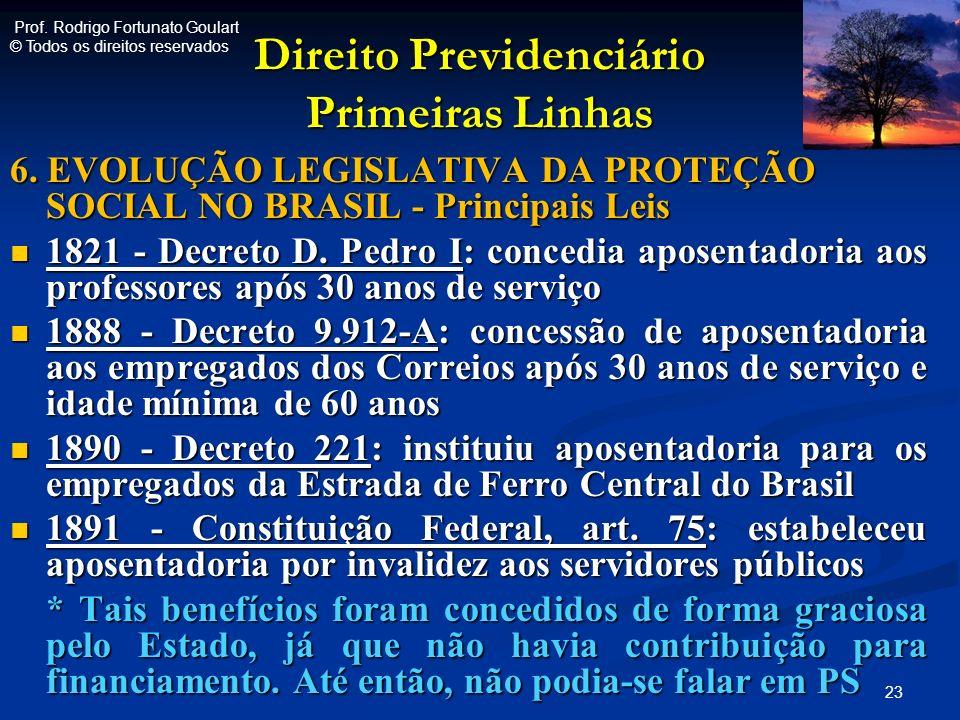 Direito Previdenciário Primeiras Linhas 6. EVOLUÇÃO LEGISLATIVA DA PROTEÇÃO SOCIAL NO BRASIL - Principais Leis 1821 - Decreto D. Pedro I: concedia apo