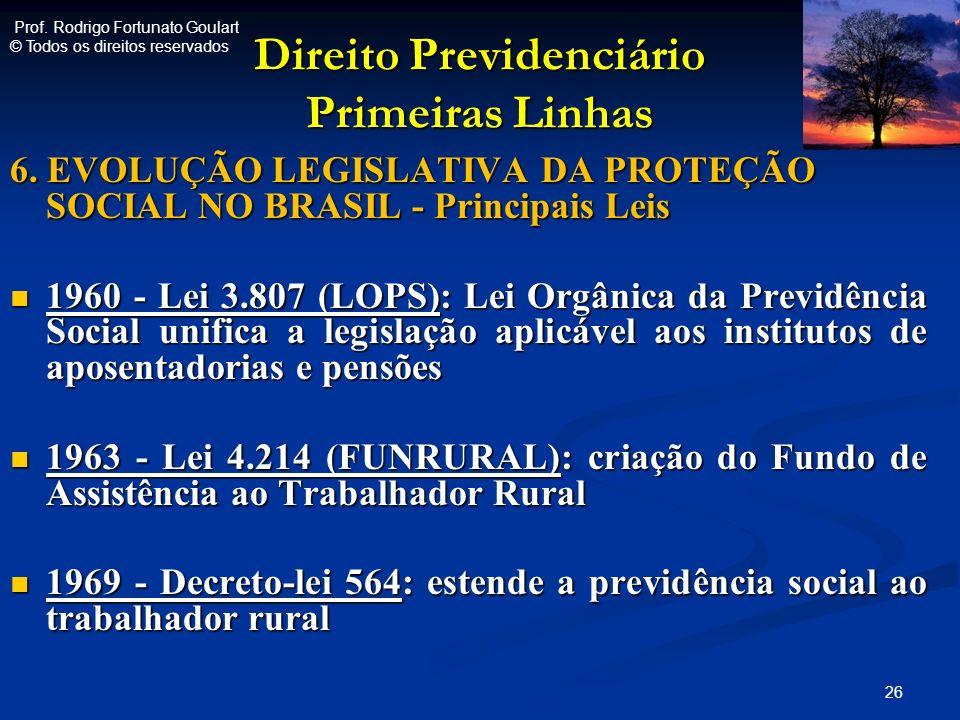 Direito Previdenciário Primeiras Linhas 6. EVOLUÇÃO LEGISLATIVA DA PROTEÇÃO SOCIAL NO BRASIL - Principais Leis 1960 - Lei 3.807 (LOPS): Lei Orgânica d
