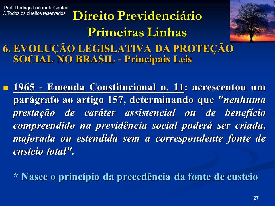 Direito Previdenciário Primeiras Linhas 6. EVOLUÇÃO LEGISLATIVA DA PROTEÇÃO SOCIAL NO BRASIL - Principais Leis 1965 - Emenda Constitucional n. 11: acr