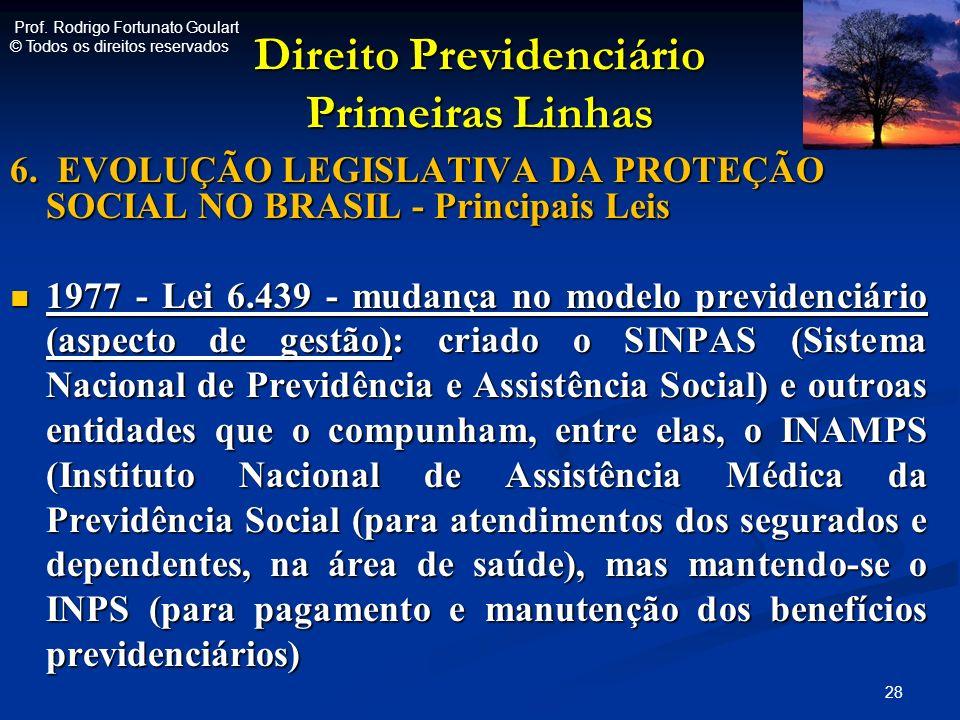 Direito Previdenciário Primeiras Linhas 6. EVOLUÇÃO LEGISLATIVA DA PROTEÇÃO SOCIAL NO BRASIL - Principais Leis 1977 - Lei 6.439 - mudança no modelo pr