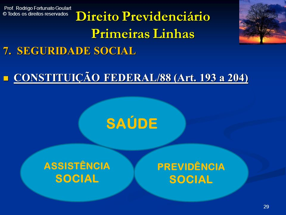 Direito Previdenciário Primeiras Linhas 7. SEGURIDADE SOCIAL CONSTITUIÇÃO FEDERAL/88 (Art. 193 a 204) CONSTITUIÇÃO FEDERAL/88 (Art. 193 a 204) 29 ASSI
