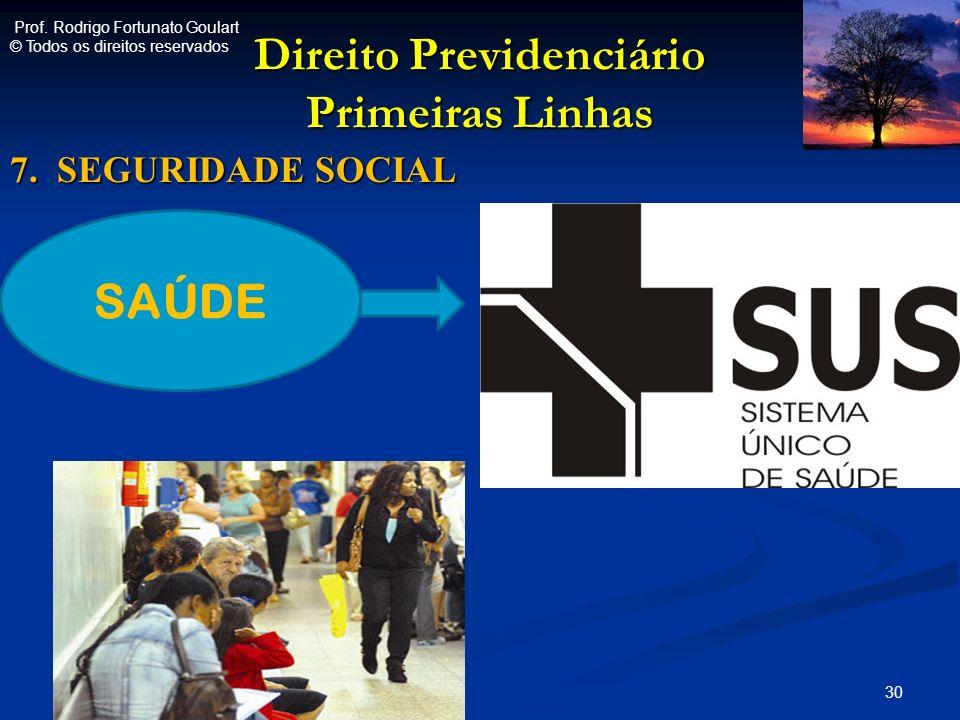 Direito Previdenciário Primeiras Linhas 7. SEGURIDADE SOCIAL 30 SAÚDE Prof. Rodrigo Fortunato Goulart © Todos os direitos reservados