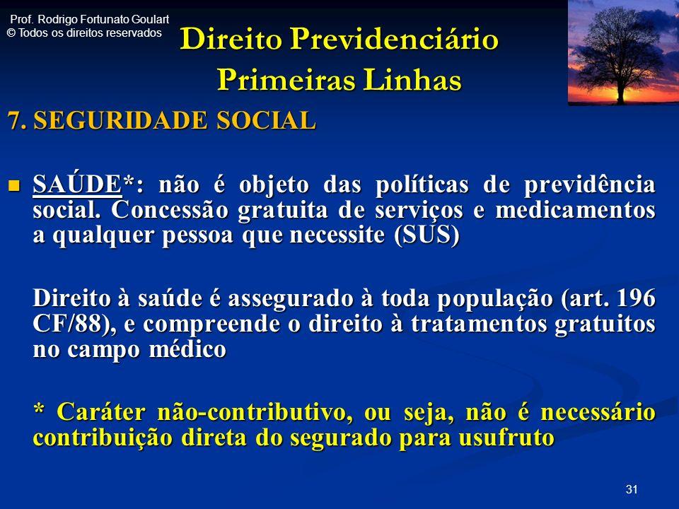 Direito Previdenciário Primeiras Linhas 7. SEGURIDADE SOCIAL SAÚDE*: não é objeto das políticas de previdência social. Concessão gratuita de serviços