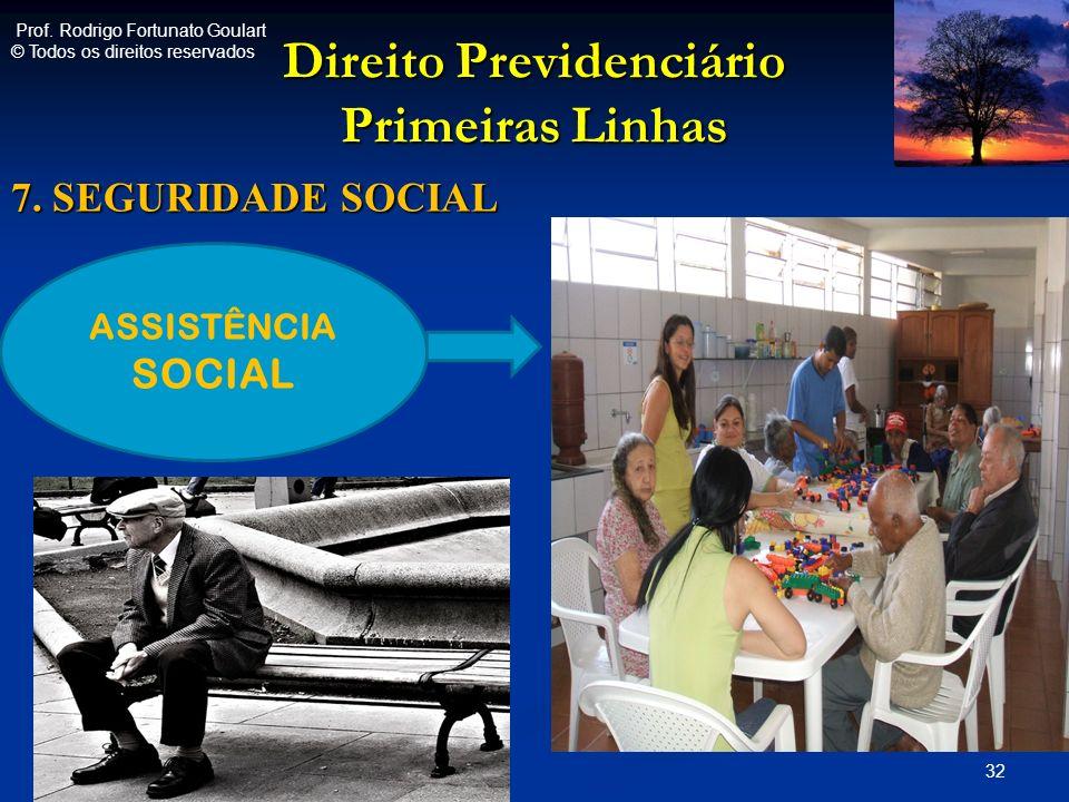 Direito Previdenciário Primeiras Linhas 7. SEGURIDADE SOCIAL 32 ASSISTÊNCIA SOCIAL Prof. Rodrigo Fortunato Goulart © Todos os direitos reservados