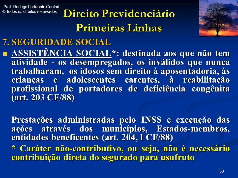 Direito Previdenciário Primeiras Linhas 7. SEGURIDADE SOCIAL ASSISTÊNCIA SOCIAL*: destinada aos que não tem atividade - os desempregados, os inválidos
