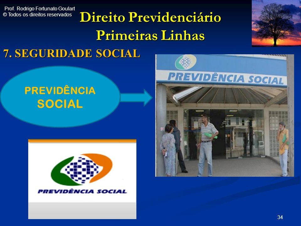 Direito Previdenciário Primeiras Linhas 7. SEGURIDADE SOCIAL 34 PREVIDÊNCIA SOCIAL Prof. Rodrigo Fortunato Goulart © Todos os direitos reservados