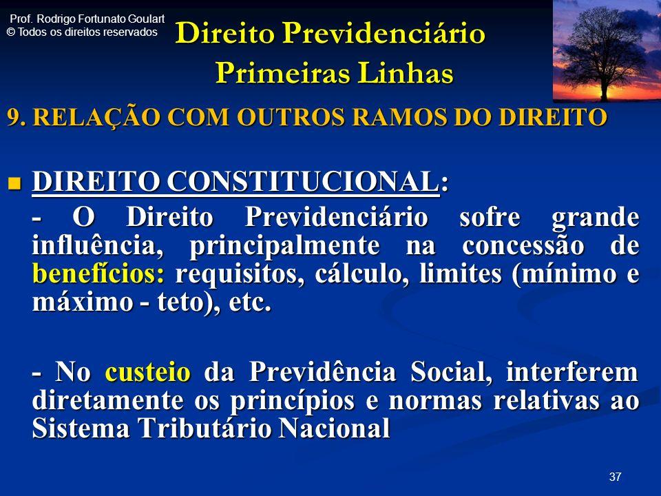 Direito Previdenciário Primeiras Linhas Direito Previdenciário Primeiras Linhas 9. RELAÇÃO COM OUTROS RAMOS DO DIREITO DIREITO CONSTITUCIONAL: DIREITO