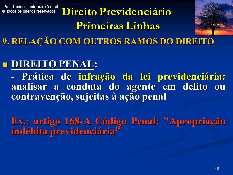 Direito Previdenciário Primeiras Linhas Direito Previdenciário Primeiras Linhas 9. RELAÇÃO COM OUTROS RAMOS DO DIREITO DIREITO PENAL: DIREITO PENAL: -