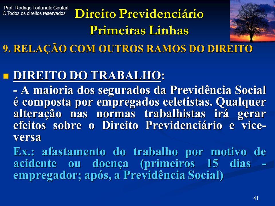 Direito Previdenciário Primeiras Linhas Direito Previdenciário Primeiras Linhas 9. RELAÇÃO COM OUTROS RAMOS DO DIREITO DIREITO DO TRABALHO: DIREITO DO