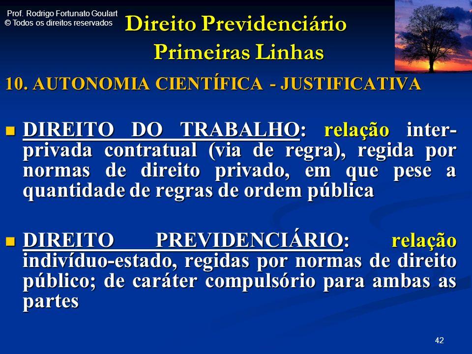 Direito Previdenciário Primeiras Linhas Direito Previdenciário Primeiras Linhas 10. AUTONOMIA CIENTÍFICA - JUSTIFICATIVA DIREITO DO TRABALHO: relação