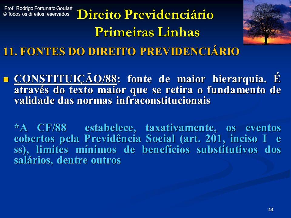 Direito Previdenciário Primeiras Linhas Direito Previdenciário Primeiras Linhas 11. FONTES DO DIREITO PREVIDENCIÁRIO CONSTITUIÇÃO/88: fonte de maior h
