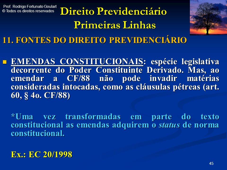 Direito Previdenciário Primeiras Linhas Direito Previdenciário Primeiras Linhas 11. FONTES DO DIREITO PREVIDENCIÁRIO EMENDAS CONSTITUCIONAIS: espécie
