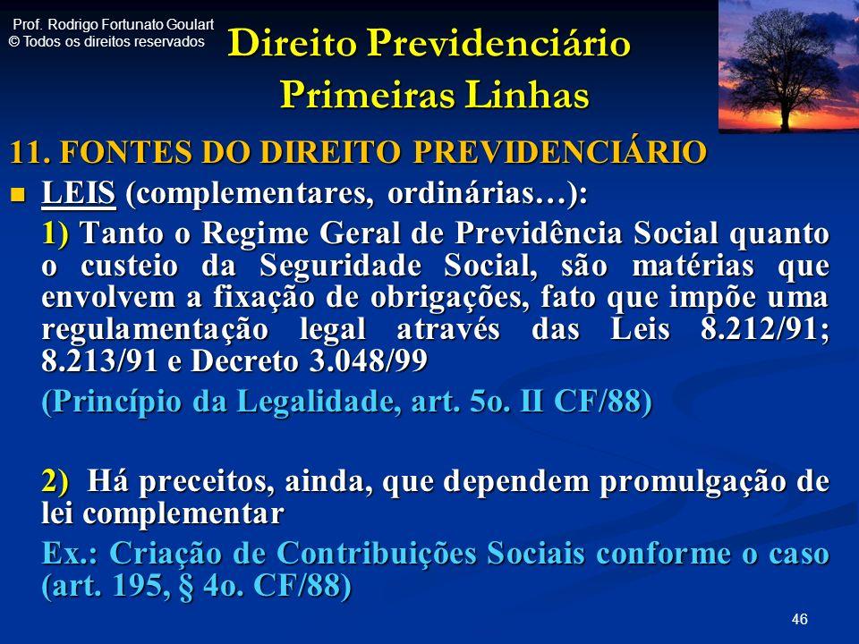 Direito Previdenciário Primeiras Linhas Direito Previdenciário Primeiras Linhas 11. FONTES DO DIREITO PREVIDENCIÁRIO LEIS (complementares, ordinárias…