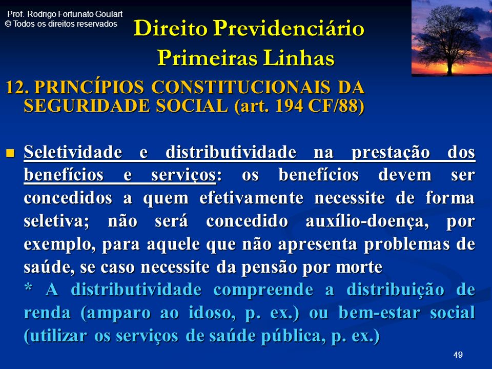 Direito Previdenciário Primeiras Linhas Direito Previdenciário Primeiras Linhas 12. PRINCÍPIOS CONSTITUCIONAIS DA SEGURIDADE SOCIAL (art. 194 CF/88) S