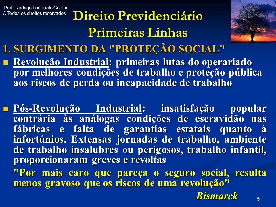 Direito Previdenciário Primeiras Linhas 1. SURGIMENTO DA