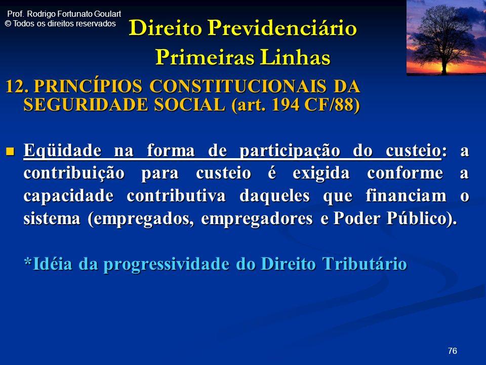 Direito Previdenciário Primeiras Linhas 12. PRINCÍPIOS CONSTITUCIONAIS DA SEGURIDADE SOCIAL (art. 194 CF/88) Eqüidade na forma de participação do cust