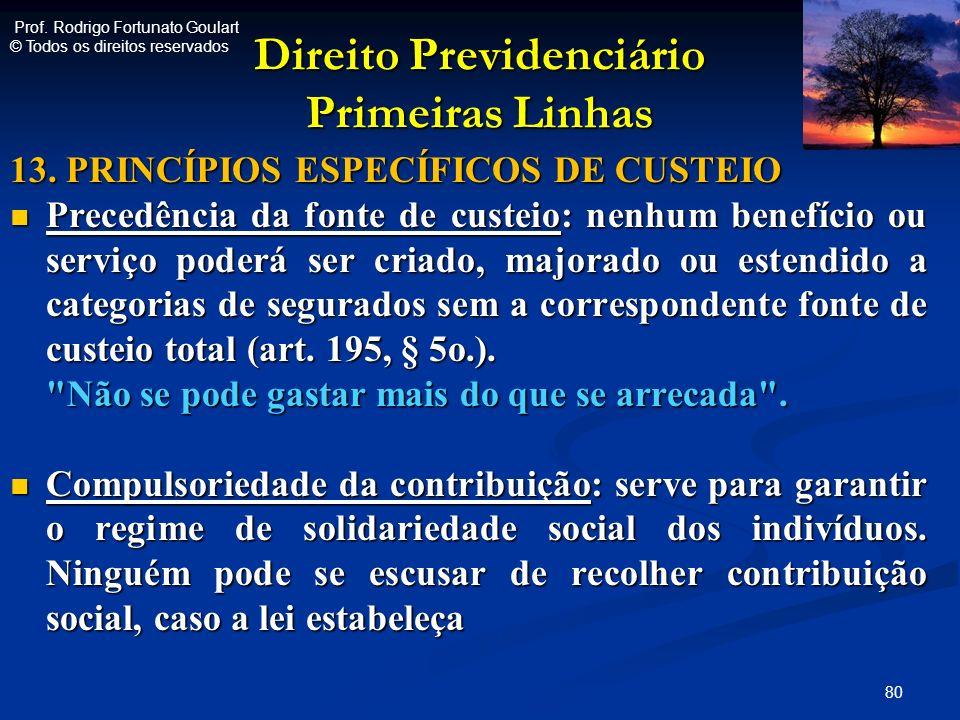 Direito Previdenciário Primeiras Linhas 13. PRINCÍPIOS ESPECÍFICOS DE CUSTEIO Precedência da fonte de custeio: nenhum benefício ou serviço poderá ser