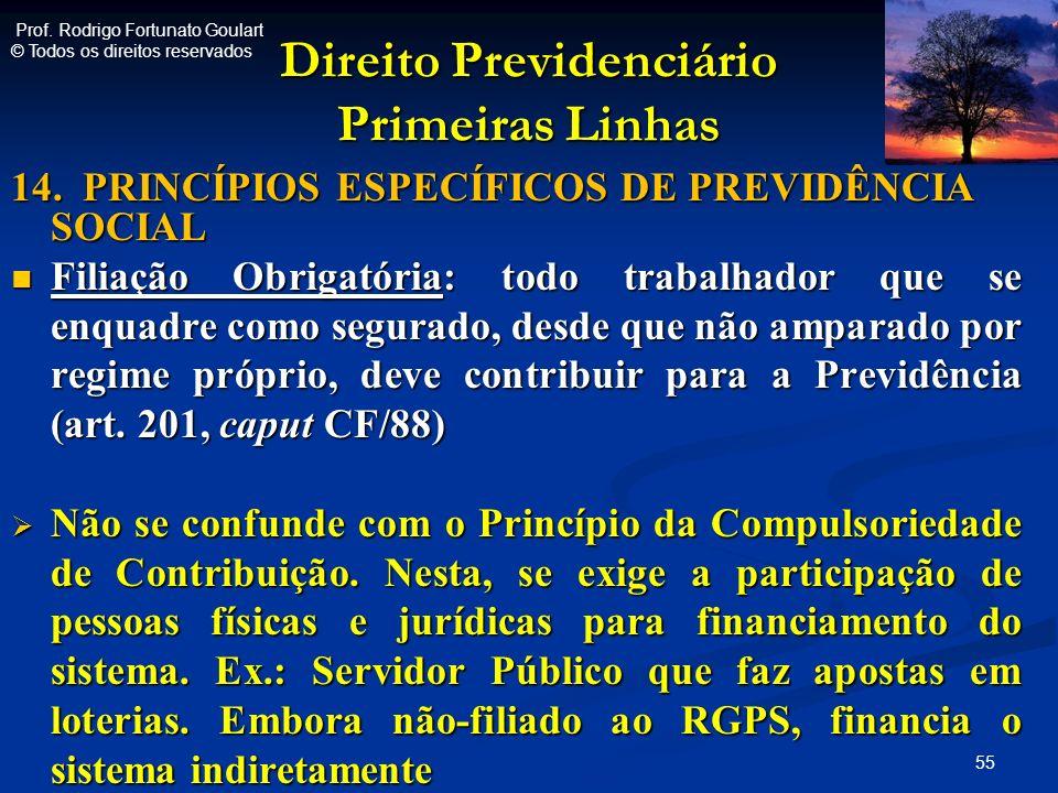 Direito Previdenciário Primeiras Linhas 14. PRINCÍPIOS ESPECÍFICOS DE PREVIDÊNCIA SOCIAL Filiação Obrigatória: todo trabalhador que se enquadre como s