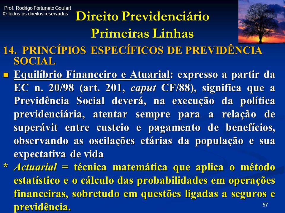 Direito Previdenciário Primeiras Linhas 14. PRINCÍPIOS ESPECÍFICOS DE PREVIDÊNCIA SOCIAL Equilíbrio Financeiro e Atuarial: expresso a partir da EC n.