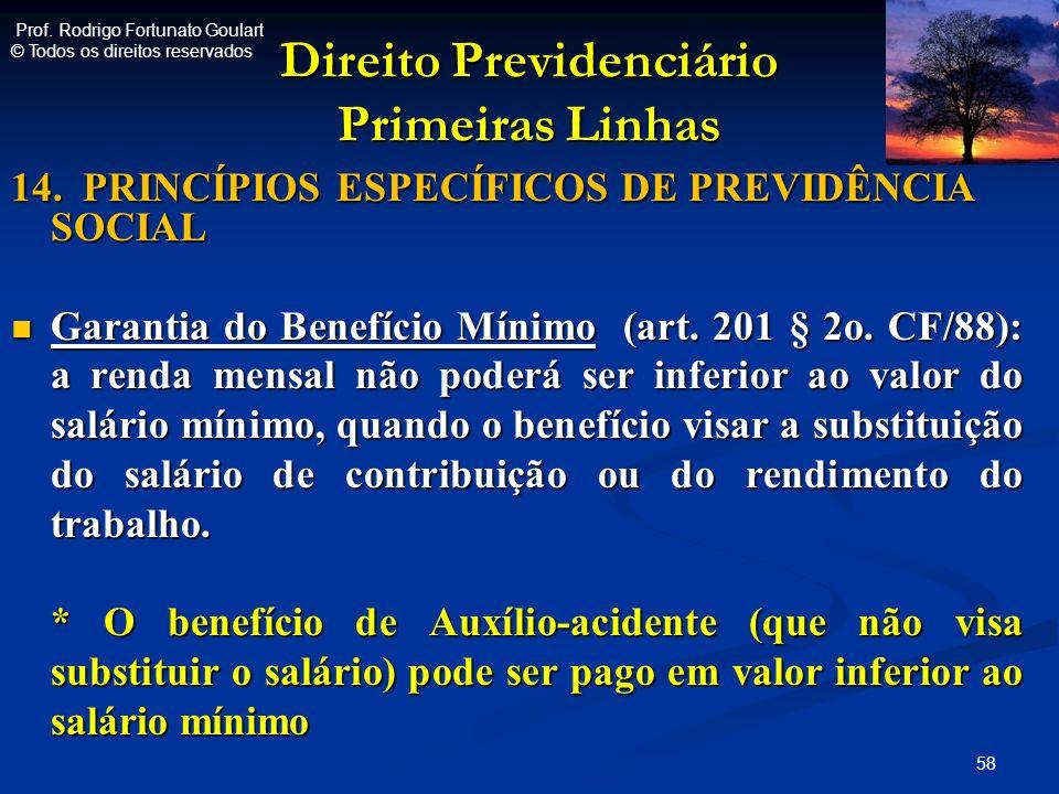 Direito Previdenciário Primeiras Linhas 14. PRINCÍPIOS ESPECÍFICOS DE PREVIDÊNCIA SOCIAL Garantia do Benefício Mínimo (art. 201 § 2o. CF/88): a renda