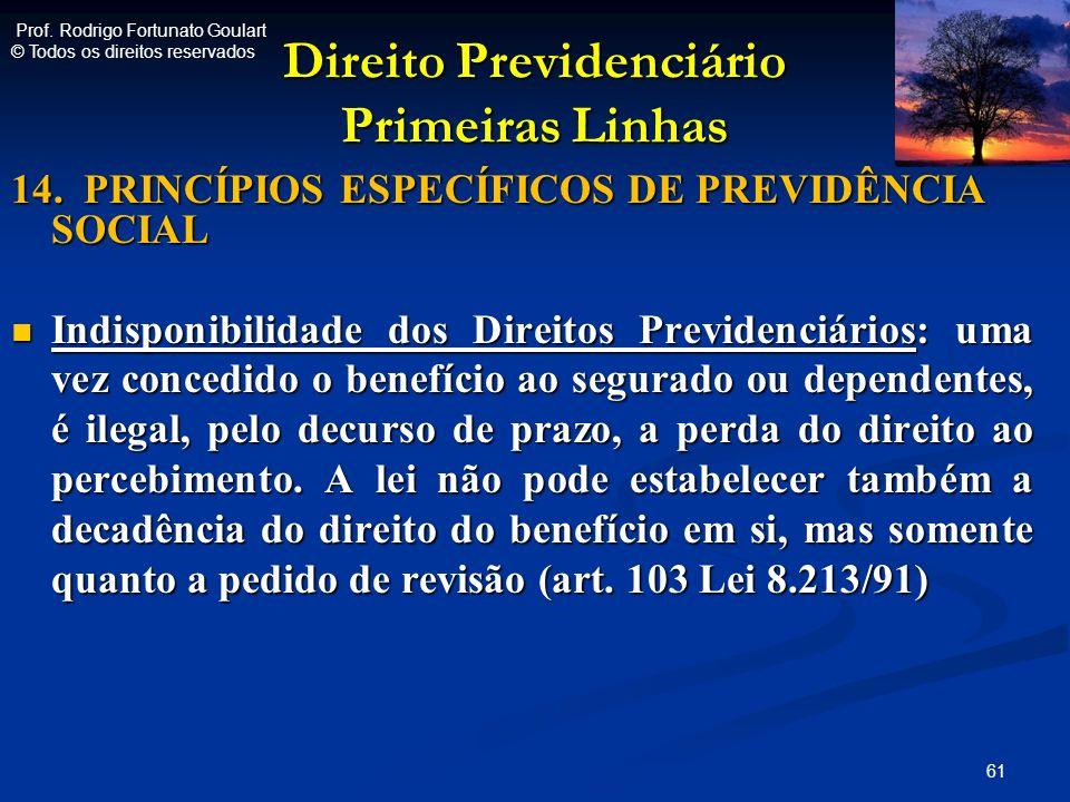Direito Previdenciário Primeiras Linhas 14. PRINCÍPIOS ESPECÍFICOS DE PREVIDÊNCIA SOCIAL Indisponibilidade dos Direitos Previdenciários: uma vez conce